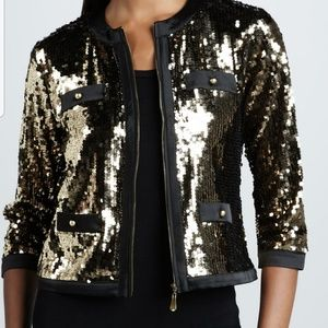 GOLD SEQUIN CROPPED JACKET